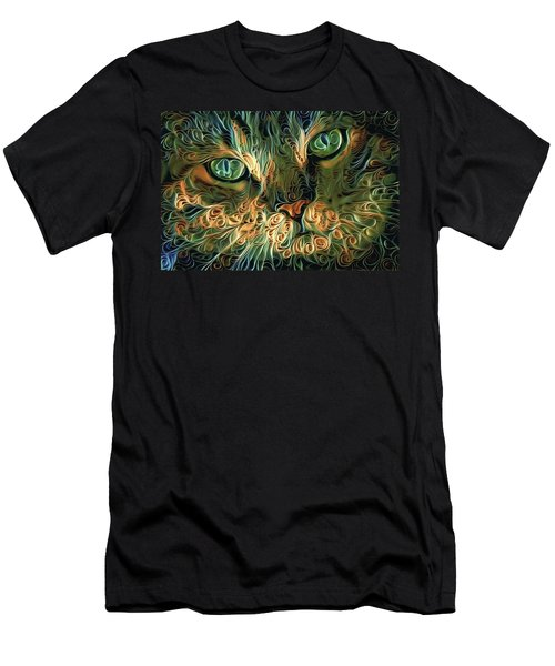 Psychedelic Tabby Cat Art Men's T-Shirt (Athletic Fit)