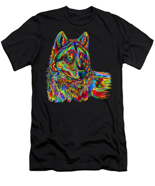 Psychedelic Wolf Men's T-Shirt (Athletic Fit)