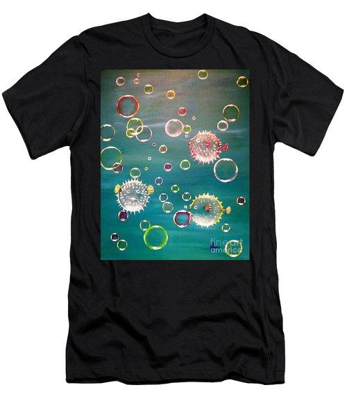 Puffer Fish Bubbles Men's T-Shirt (Athletic Fit)
