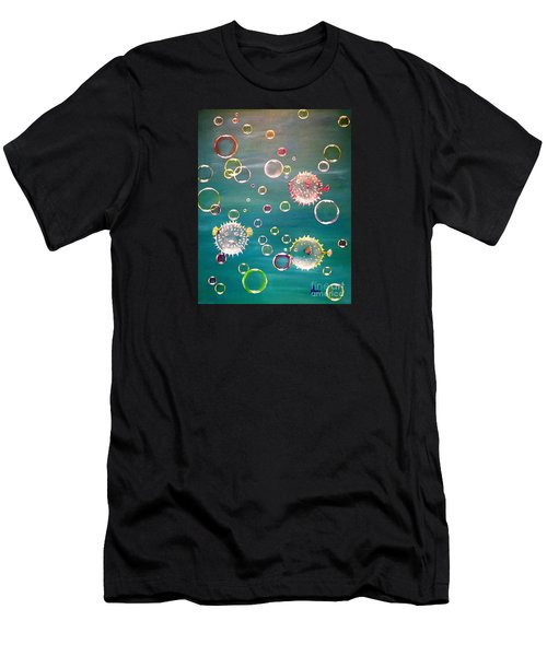 Puffer Fish Bubbles Men's T-Shirt (Athletic Fit)