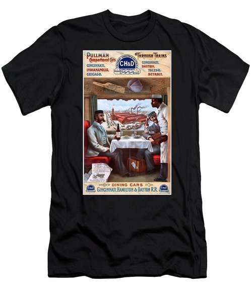 Pullman Compartment Cars Through Trains, Cincinnati, Hamilton Dayton Rail Road Advertising Poster, 1894 Men's T-Shirt (Athletic Fit)