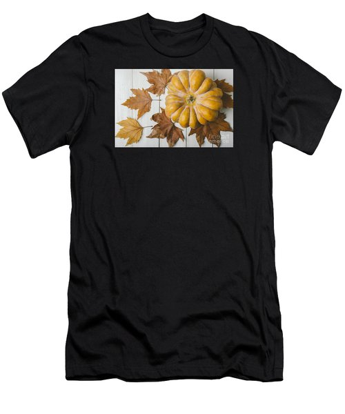 Pumkin And Maple Leaves Men's T-Shirt (Athletic Fit)