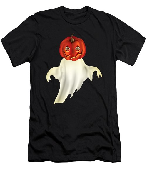 Pumpkin Headed Ghost Graphic Men's T-Shirt (Athletic Fit)
