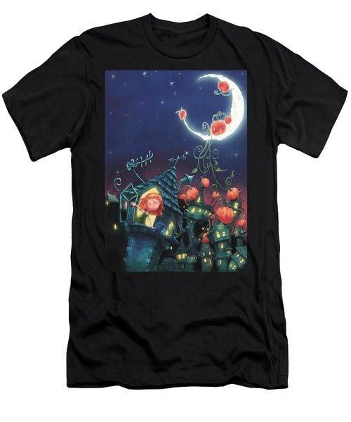 Pumpkins On The Moon Men's T-Shirt (Athletic Fit)