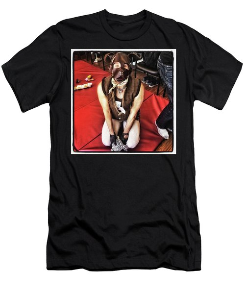 Men's T-Shirt (Athletic Fit) featuring the photograph Puppy Play. Human Canine Training by Mr Photojimsf