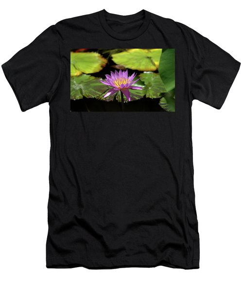 Purple And Yellow Water Lily Men's T-Shirt (Athletic Fit)