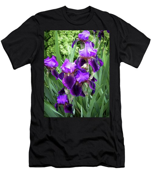Men's T-Shirt (Athletic Fit) featuring the photograph Purple Bearded Irises by Penny Lisowski