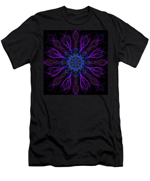 Men's T-Shirt (Slim Fit) featuring the photograph Purple Blue Kaleidoscope Square by Adam Romanowicz