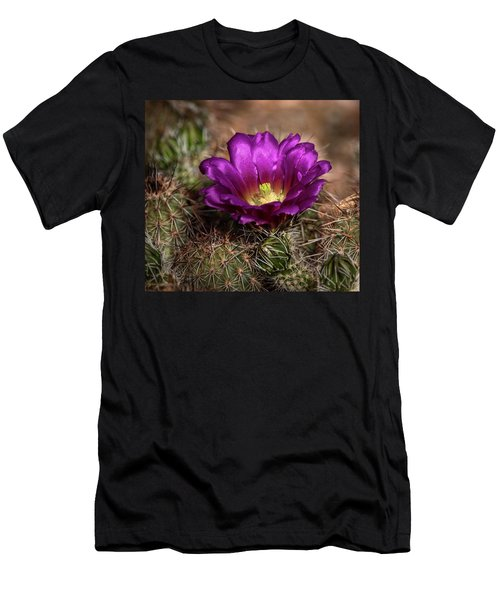 Men's T-Shirt (Slim Fit) featuring the photograph Purple Cactus Flower  by Saija Lehtonen