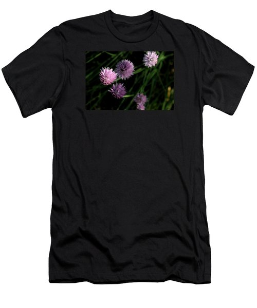 Men's T-Shirt (Slim Fit) featuring the photograph Purple Chives by Angela Rath