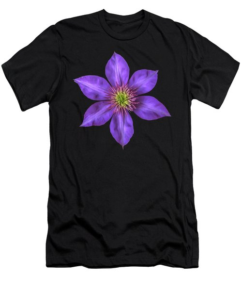 Purple Clematis Flower With Soft Look Effect Men's T-Shirt (Athletic Fit)