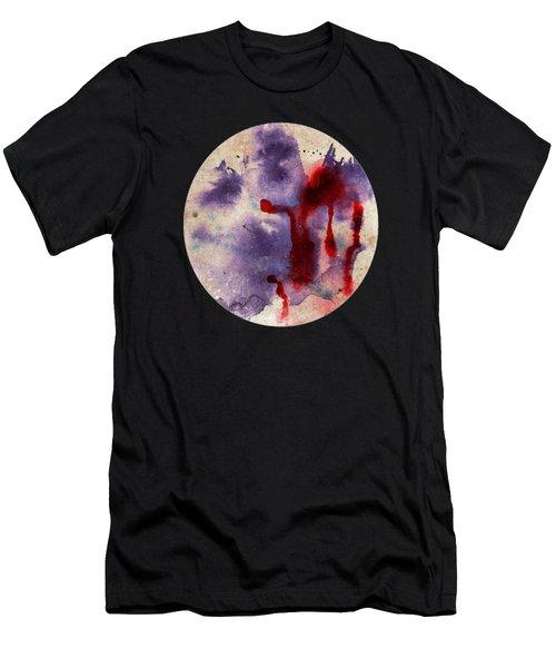 Purple Color Splash Men's T-Shirt (Athletic Fit)