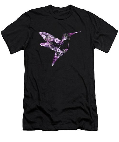 Purple Floral Hummingbird Art Men's T-Shirt (Athletic Fit)