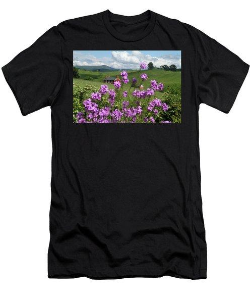 Purple Flower In Landscape Men's T-Shirt (Athletic Fit)