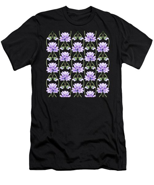 Purple Flowers Hearts Pattern Men's T-Shirt (Athletic Fit)