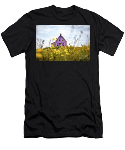 Purple House And Yellow Flowers Men's T-Shirt (Athletic Fit)