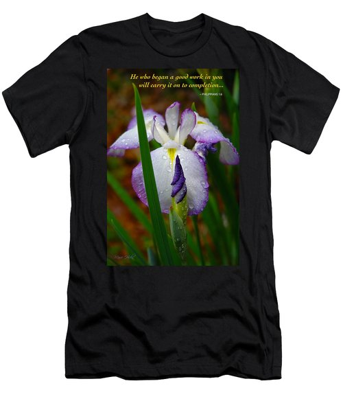 Purple Iris In Morning Dew Men's T-Shirt (Slim Fit) by Marie Hicks