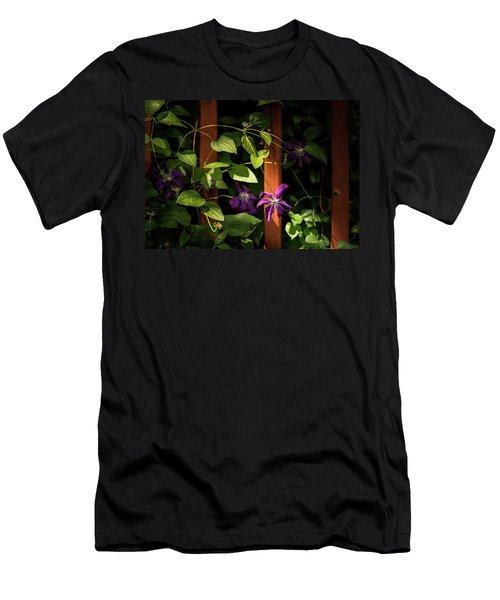 Men's T-Shirt (Athletic Fit) featuring the photograph Purple Jackmanii Clematis by Onyonet  Photo Studios