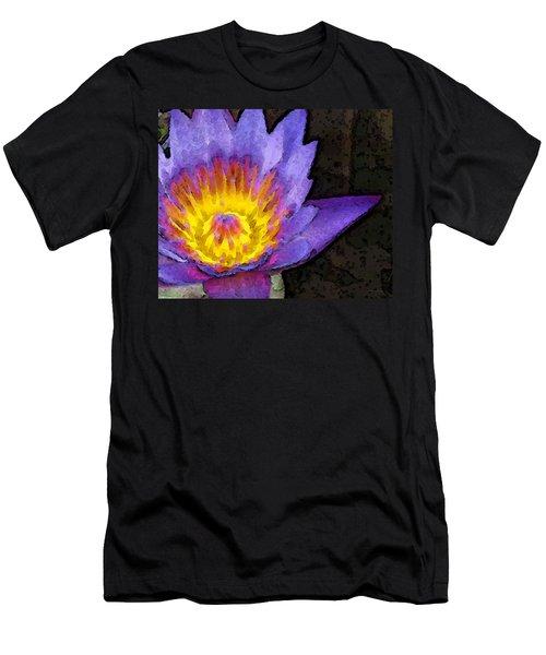 Purple Lotus Flower - Zen Art Painting Men's T-Shirt (Athletic Fit)