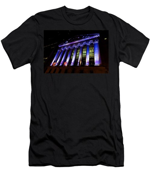 Purple New York Stock Exchange At Night - Impressions Of Manhattan Men's T-Shirt (Athletic Fit)