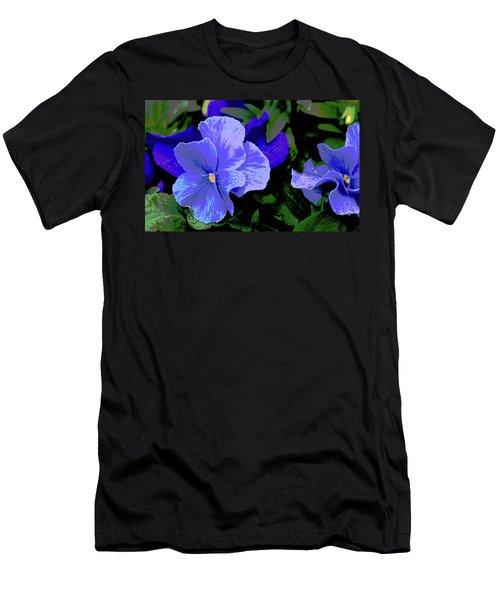 Purple Pansy Posterized Men's T-Shirt (Athletic Fit)