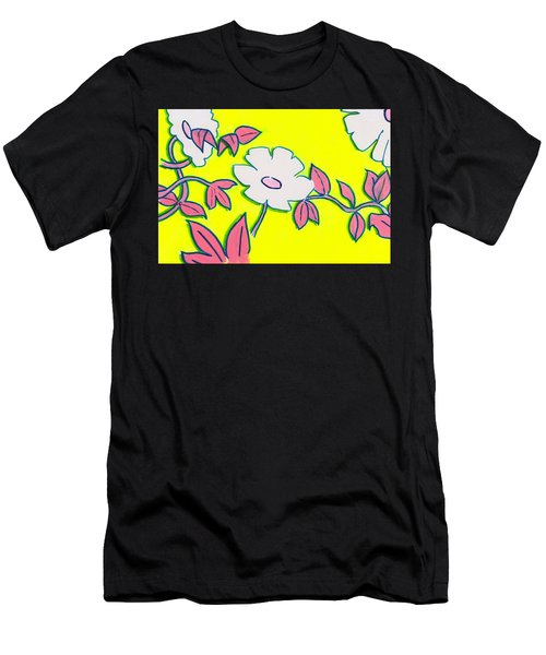 Purple Pointed Petals And Bright White Flowers Against Yellow Men's T-Shirt (Athletic Fit)