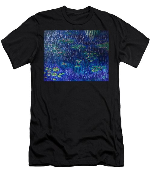 Purple Rain On Water Lilies Men's T-Shirt (Athletic Fit)