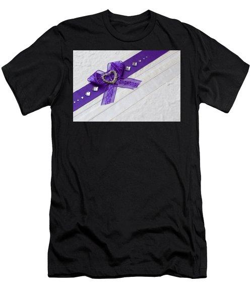 Purple Ribbon Heart Men's T-Shirt (Athletic Fit)