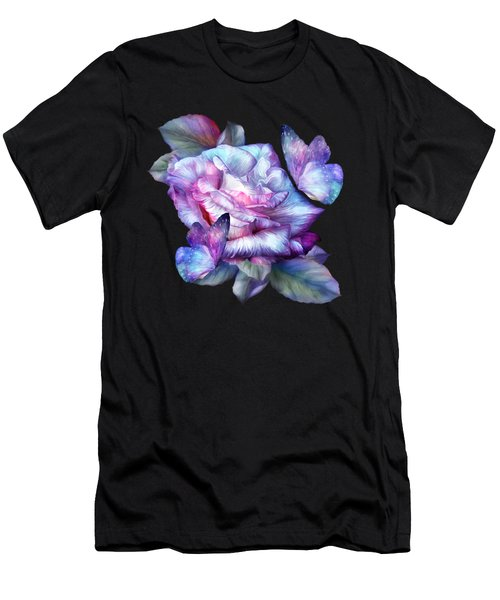 Purple Rose And Butterflies Men's T-Shirt (Athletic Fit)