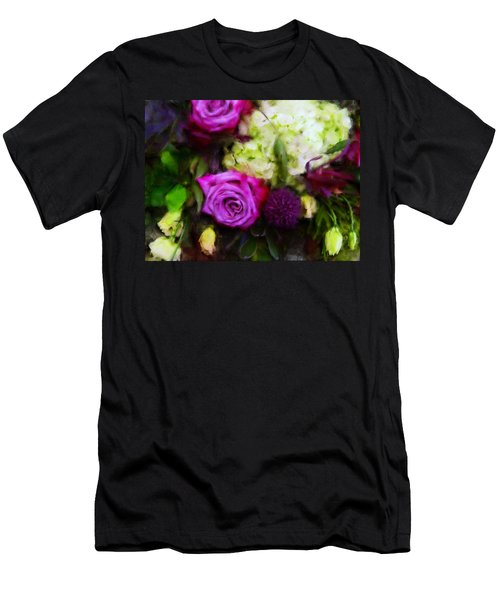 Purple Roses With Hydrangea Men's T-Shirt (Athletic Fit)