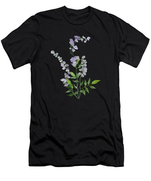 Men's T-Shirt (Athletic Fit) featuring the painting Purple Tiny Flowers by Ivana Westin