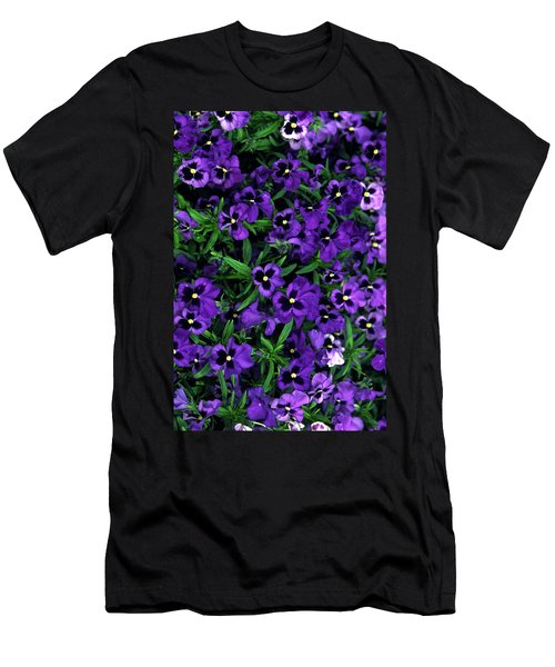 Men's T-Shirt (Slim Fit) featuring the photograph Purple Viola Flowers by Sally Weigand