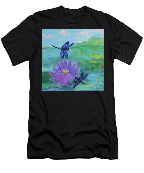 Purple Water Lily And Dragonflies Men's T-Shirt (Athletic Fit)