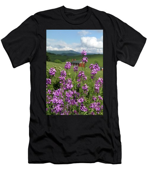 Purple Wild Flowers On Field Men's T-Shirt (Athletic Fit)