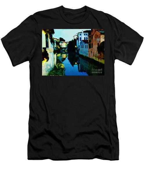 Men's T-Shirt (Slim Fit) featuring the photograph Quaint On The Canal by Roberta Byram