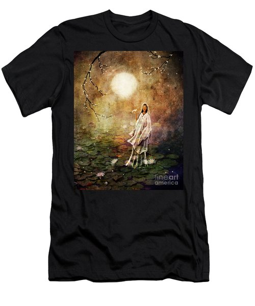 Quan Yin In A Lotus Pond Men's T-Shirt (Slim Fit) by Laura Iverson