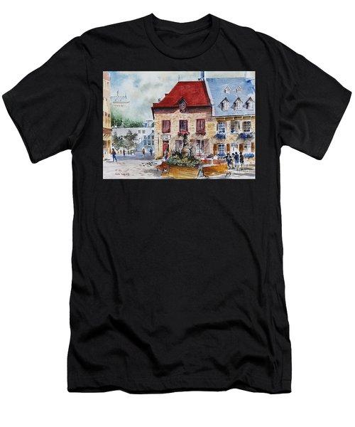 Quebec City Flower Boxes Men's T-Shirt (Athletic Fit)