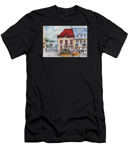 Quebec City Flower Boxes Men's T-Shirt (Athletic Fit)