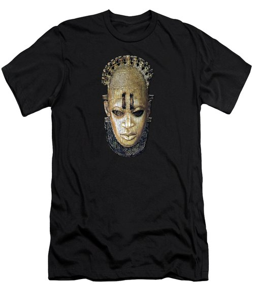 Queen Mother Idia - Ivory Hip Pendant Mask - Nigeria - Edo Peoples - Court Of Benin On Red Velvet Men's T-Shirt (Athletic Fit)