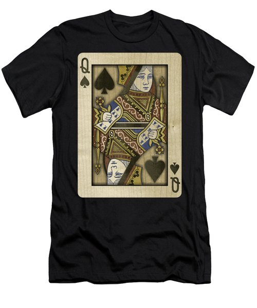 Queen Of Spades In Wood Men's T-Shirt (Athletic Fit)
