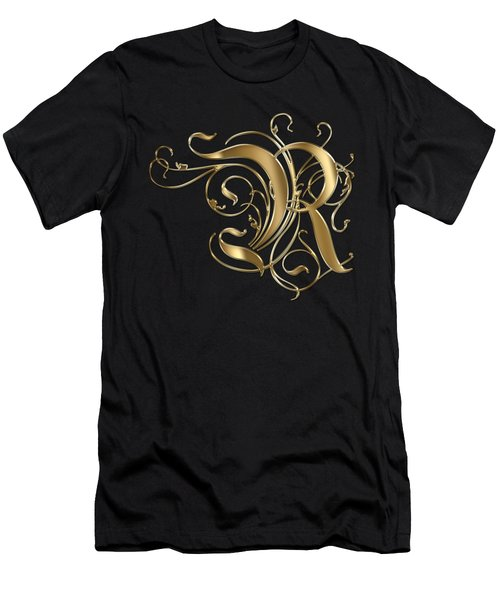 R Golden Ornamental Letter Typography Men's T-Shirt (Athletic Fit)