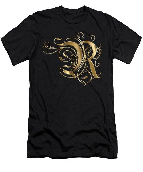 R Golden Ornamental Letter Typography Men's T-Shirt (Slim Fit) by Georgeta Blanaru