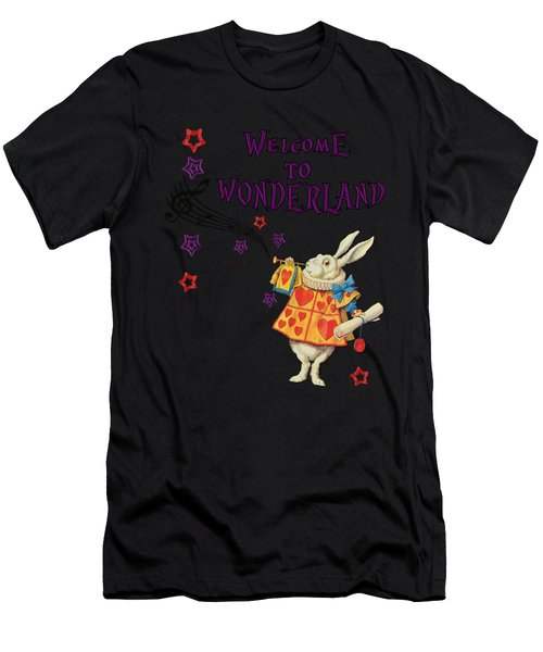 Rabbit Welcome To .. Alice In Wonderland Men's T-Shirt (Athletic Fit)