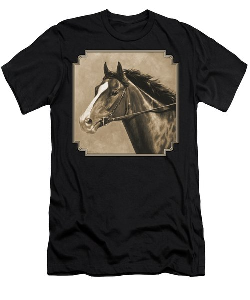 Racehorse Painting In Sepia Men's T-Shirt (Athletic Fit)