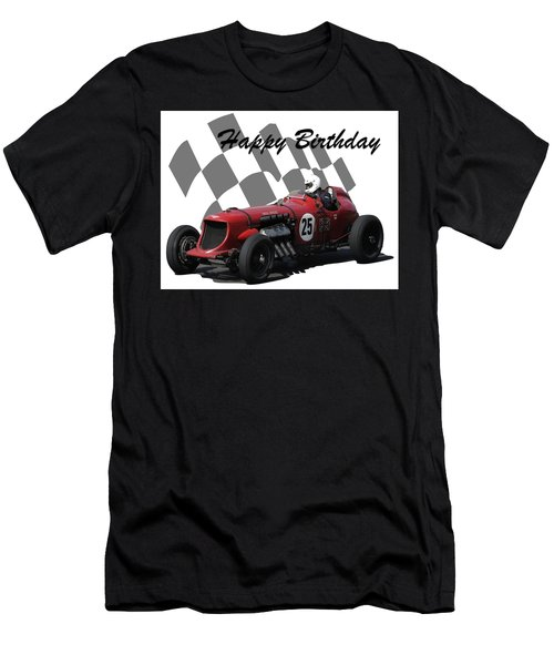 Men's T-Shirt (Slim Fit) featuring the photograph Racing Car Birthday Card 3 by John Colley