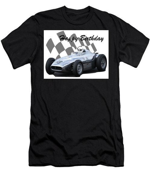 Men's T-Shirt (Slim Fit) featuring the photograph Racing Car Birthday Card 7 by John Colley