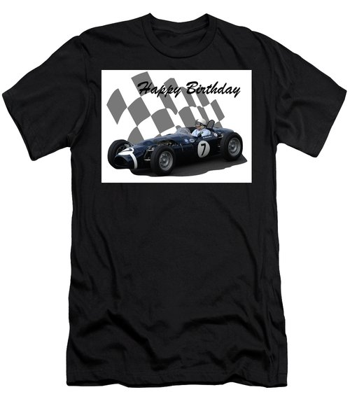 Men's T-Shirt (Slim Fit) featuring the photograph Racing Car Birthday Card 8 by John Colley