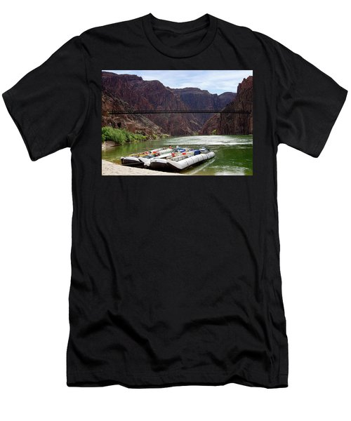 Rafts With Black Bridge In The Distance Men's T-Shirt (Athletic Fit)