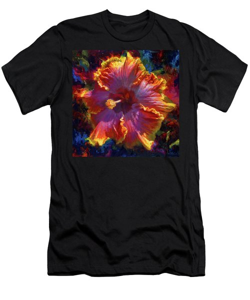 Rainbow Hibiscus Tropical Flower Wall Art Botanical Oil Painting Radiance  Men's T-Shirt (Athletic Fit)