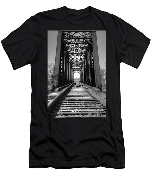 Railroad Bridge Black And White Men's T-Shirt (Athletic Fit)